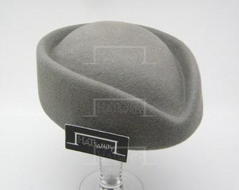 VINTAGE x ELEGANT Wool Felt Pillbox Hat - Grey