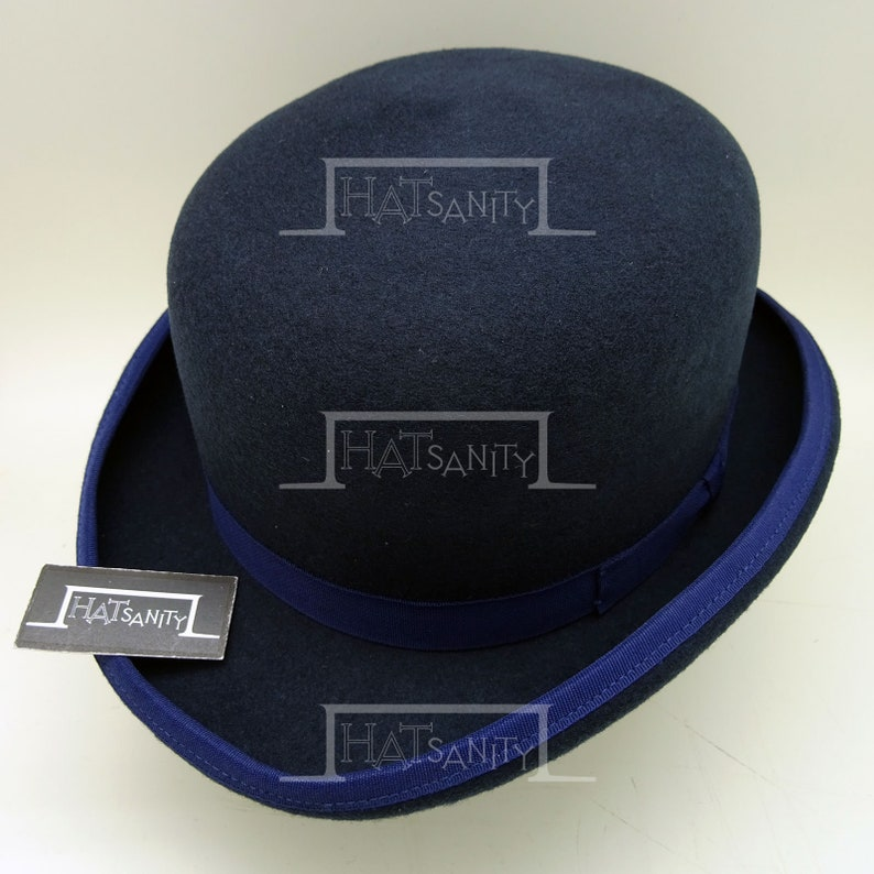Nude Hat for DIY Retro Wool Felt Bowler Top Hat removable w Embroidered Goggle and Rivets in NAVY Steampunk