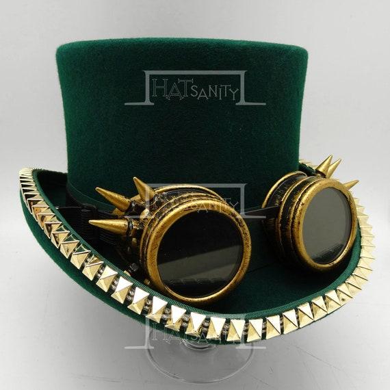 Cappello di Steampunk x Vintage lana feltro Topper Top Hat w    c87b94f436b9