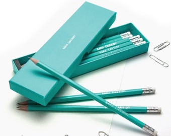 12 High Quality Personalised Pencils in a Box -Printed with Name - AQUAMARINE (plus other colours) New Colour