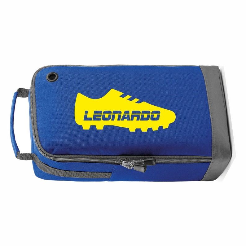 MARL GREY Personalized FootballSoccerRugby BootShoe Bag Sports Printed with boot design and name Perfect for School or Club use