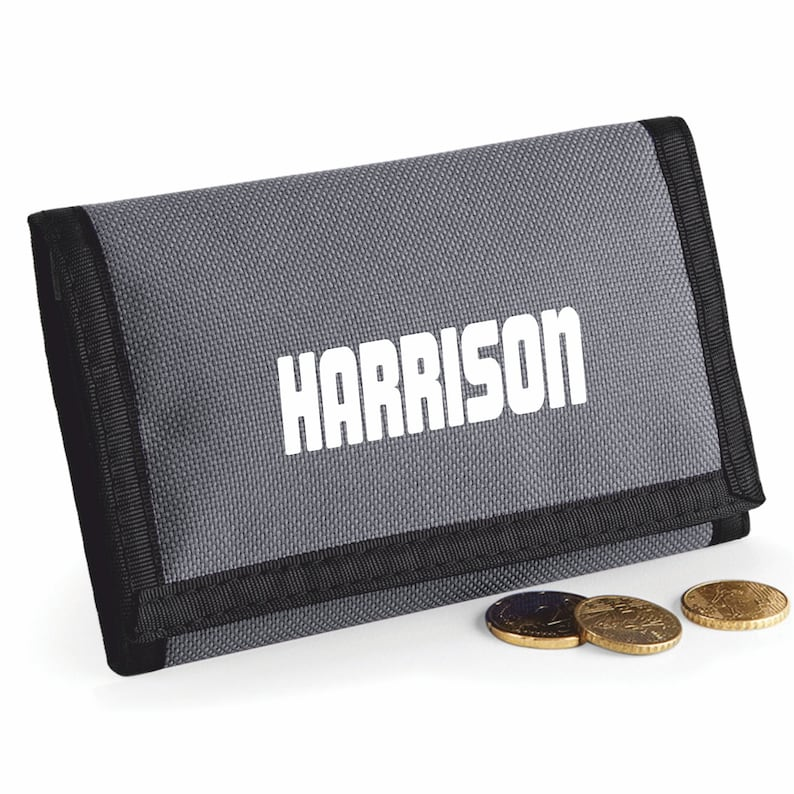 GREY Rip Wallet Printed with Name