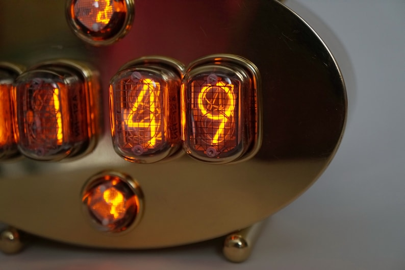 Handmade Nixie tubes clock IN-12 and IN-2  case of polished image 0