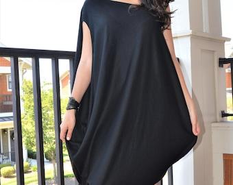 Avant Garde Black Dress/Cold Shoulder Dress/Party Tunic/ Asymmetric Black Top/Loose Dress Z17
