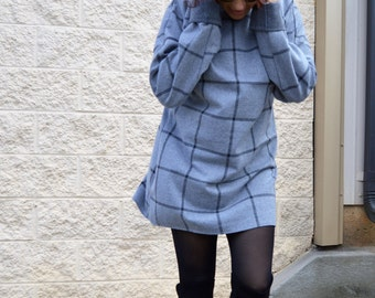 Plaid Dress / Long Sleeve Dress / Short Casual Dress /Oversize Tunic ZM249