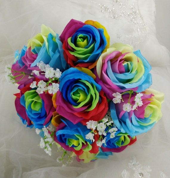 Mix silk rainbow roses artificial flowers wedding bouquet etsy image 0 mightylinksfo