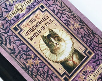 The Otherwordly World Of Cats by Felicity Feline Magic Spell Book Journal Harry Potter Inspired A5 Hardback Notebook. Blank Lined Paper .