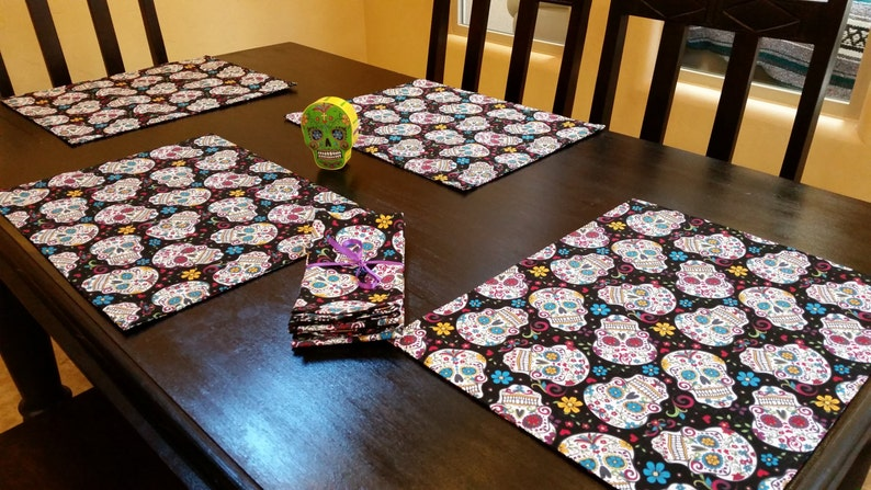 Sugar Skull Place Mats with Four Matching Cloth Napkins.