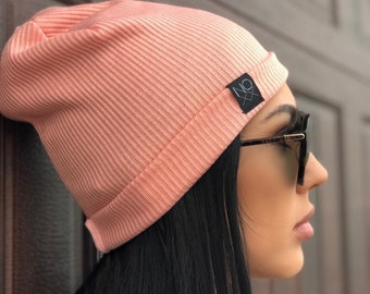 1e680066675 Pink Ribbed Knit Hipster Slouchy Beanie   Soft and Comfy Hat   Kids Toque    Girls Hats