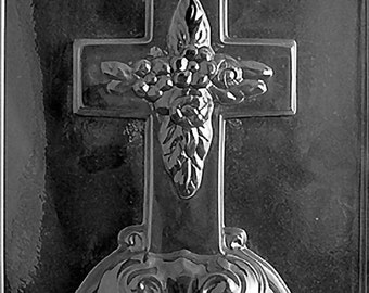 Large Cross with Base Chocolate Candy Mold with Exclusive FlavorTools Copyrighted Chocolate Molding Instructions R025