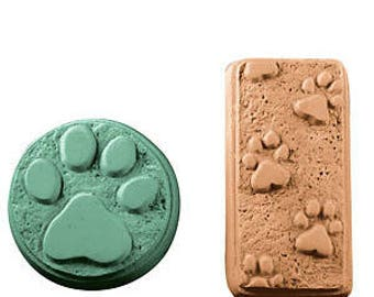 Clear Plastic Paw Prints Soap Mold Makes (2) 4 - 5.25 oz. Bars. Milky Way. For Melt & Pour and Cold Process Soaps MW14