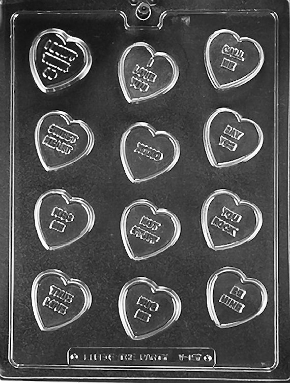 Candy Heart Sayings Valentine Chocolate Candy Mold With Etsy
