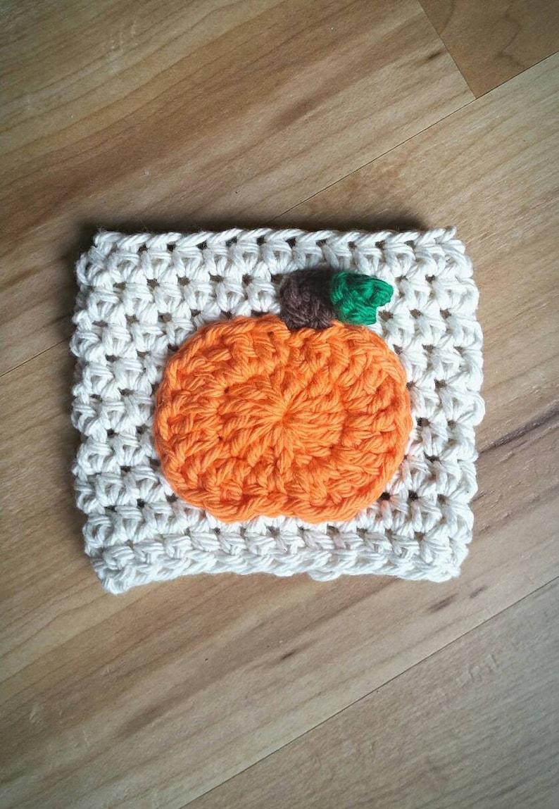 Crochet Pumpkin Coffee Cozie with Vine image 0
