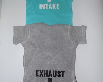 da0f668c1 Intake Exhaust Onesie 6month - 24month car enthusiast automotive apparel
