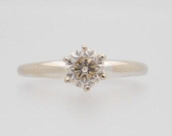 0.77 Carat Round Cut Diamond Solitaire 14K White Gold