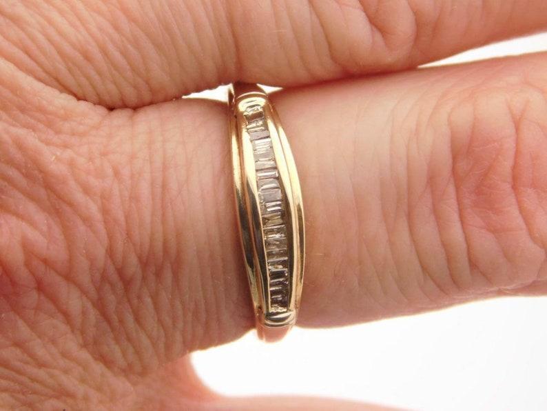 Ladies Baguette Cut Diamond Band 10k Yellow Gold Ring #35730 0.25 Carat T.w