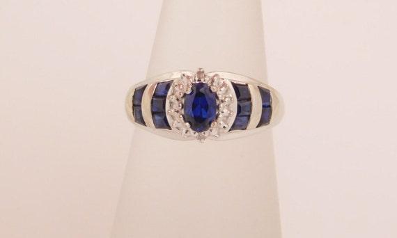 Ladies Diamond & Blue Birthstone (SEPTEMBER) Ring