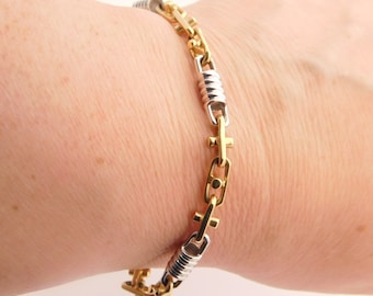 Fancy Bullet Two Tone 14K Gold Link Bracelet 8 Inches