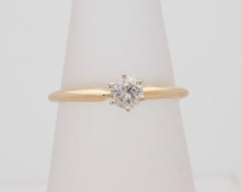 0.22 Carat Round Cut Diamond Solitaire Engagement Ring 14K