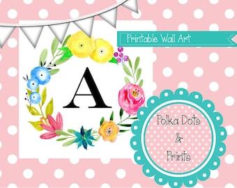 Printable A Monogram Floral Print 5X7
