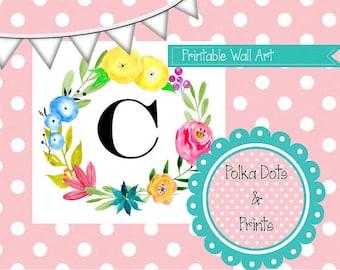Printable C Monogram Floral Art 5x7