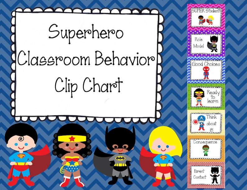 Superhero Classroom Behavior Clip Chart image 0