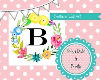 Printable B Monogram Floral Print 5x7