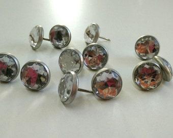 10 Decorative nails silver crystal upholstery nails Tacks Decotacks