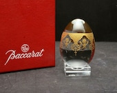 RARE Baccarat egg figurines crystal incrusted gold clear in BOX w stand signed