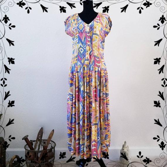 Vintage Adini Abstract Gauze 1970s Indian Dress