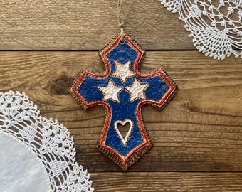 Tennessee Flag Cross   Tennessee Farmhouse Cross Decor   Tennessee Tri Star Cross Wall Plaque   Tennessee Patriotic Cross Gift