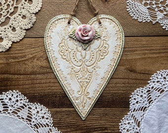 Vintage Lace Pink Rose Cottage Heart Wall Plaque   Shabby Chic Rose Heart Decor   Victorian Country Rose Heart   Romantic Country Decor