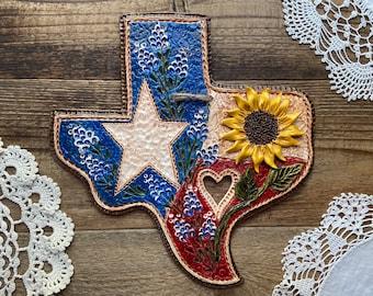 Texas Flag Sunflower Wall Plaque   Handmade State Of Texas Bluebonnet Sunflower Ranch Style Decor   Texas Farmhouse Style   Texas Art