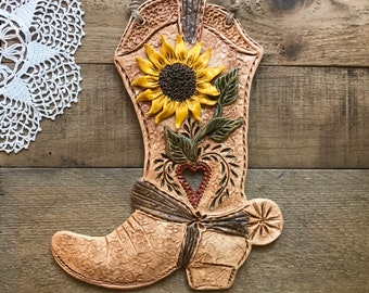 Cast Iron Cowboy Cowgirl Boots Set of 2 Western Wall Plaque Decor Barn Office