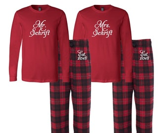 12d529abc692 Mr and Mrs Personalized Flannel Pj Set