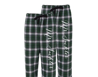 Mr. and Mrs. matching flannel Pajamas Personalized Mr and Mrs  fdd8558be