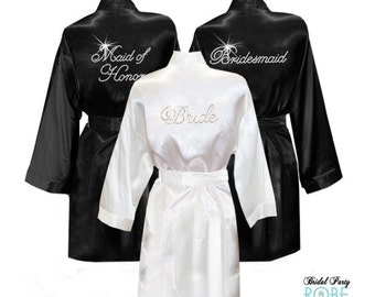Set of 2 Satin Knee-Length Bridal Robes with Title in Rhinestone Crystals 64b068675