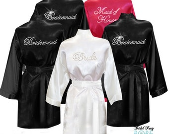 Set of 5 Satin Knee-Length Bridal Robes with Title in Rhinestone Crystals cf1a67945