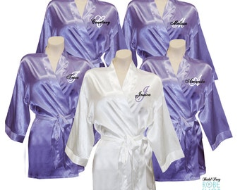 Set of 5 - Personalized Satin Bridal Party Robes with Single Initial and  Name ace2903e6
