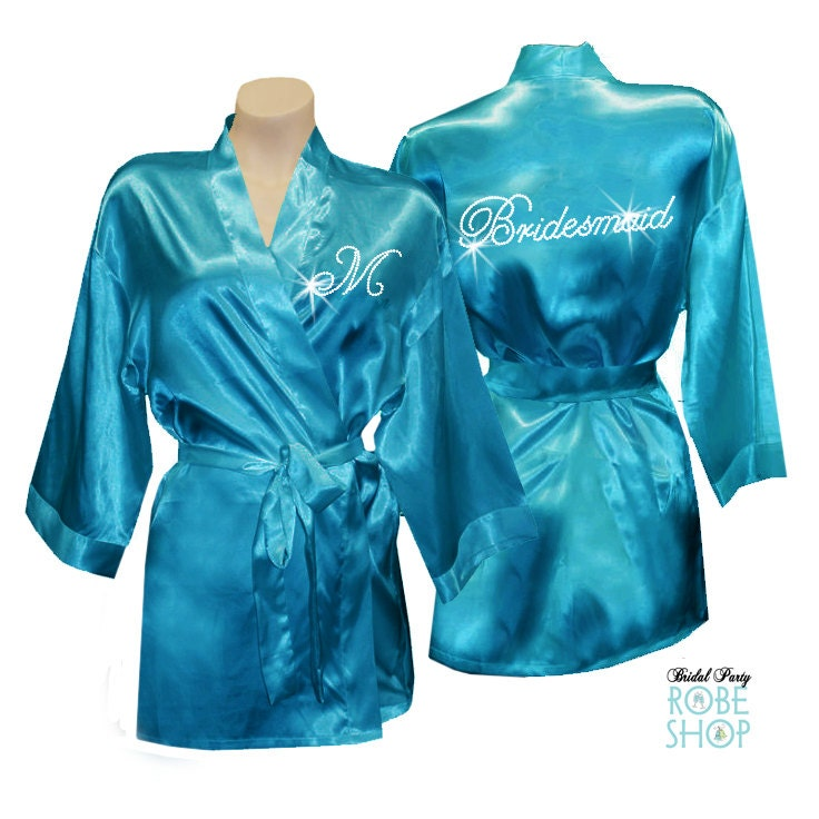 Crystal bridesmaid robes Personalized Bridal Party Satin Robe  f9867af8f