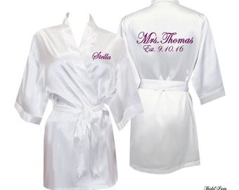 Bridal robes, Personalized Satin Bridal Robe, Satin Bride Robe, Personalized Mrs. Robe, bridal shower gifts, bridal party robes, bride gift