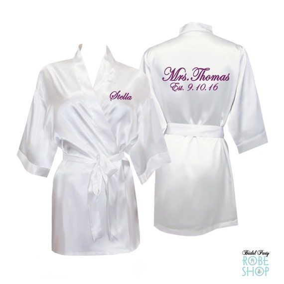 43980144f9 Bridal robes Personalized Satin Bridal Robe Satin Bride