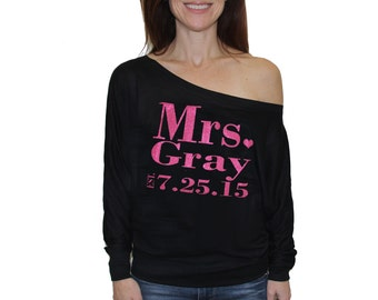 Mrs. Personalized off the shoulder top with new last name, custom Mrs. Dolman Sleeve Shirt, Mrs. Tee, Bride Gift. bride long sleeve tee
