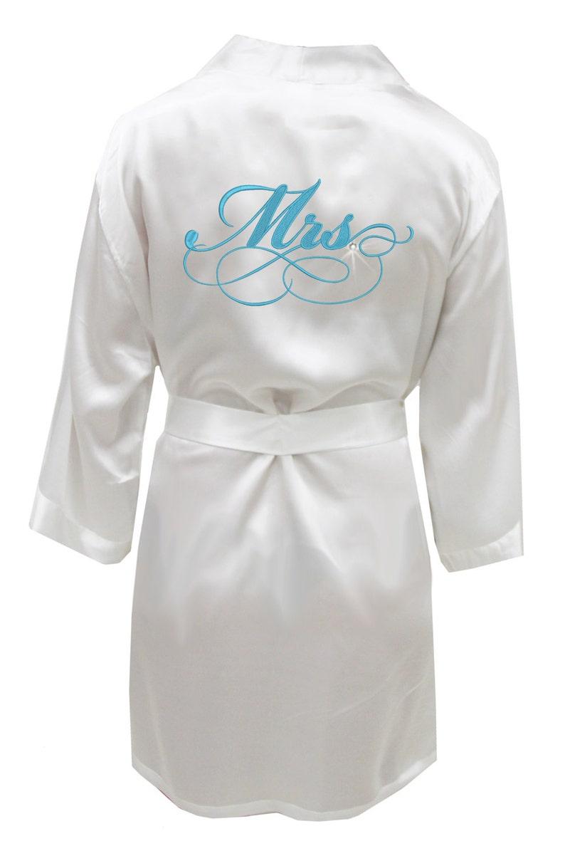 2100ea3f43 Mrs. Embroidered Satin Robe wedding lingerie bridal shower