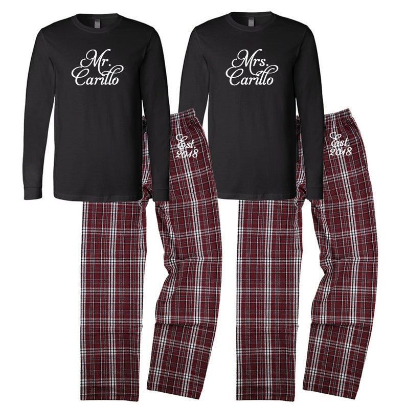 Mr and Mrs Personalized Pajamas Custom Mr. and Mrs. Couples  f8eef8aee
