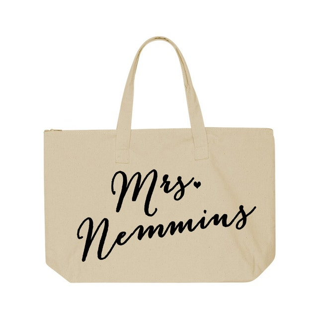 Personalized Mrs. Tote Bag, Custom Mrs. Tote Bag, Bride carry all, Mrs bag, Just Married Tote, Honeymoon tote bag, bridal shower gift idea