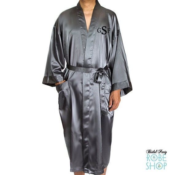 d0a01e8fb5 Mens Embroidered Satin Robe Monogrammed Mens Robe Ankle