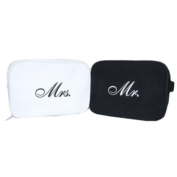 6d5e10d013 Mr. and Mrs. Waffle Cosmetic Bag Set Bride   Groom Cosmetic