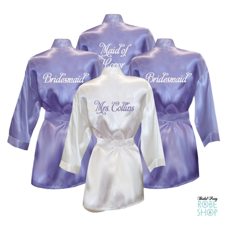 a3081c9d4d Set of 5 Personalized Satin Robes with Embroidery on Back - Bridal Party  Robes