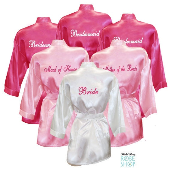 0706c04075 Set of 10 Personalized Satin Robes with Title on Back pink